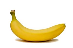 Single Banana Isolated on White
